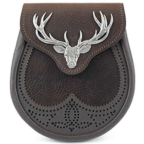 Large Stag Head Saddle Leather Sporran