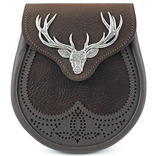 Large Stag Head Saddle Leather Sporran