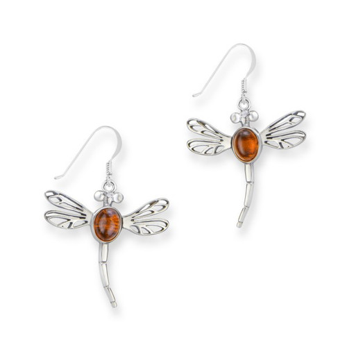 OUTLANDER INSPIRED DRAGONFLY SILVER DROP EARRINGS WITH AMBER