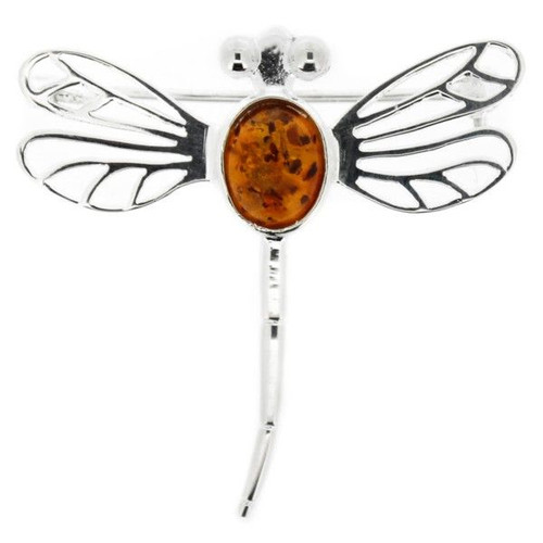 OUTLANDER INSPIRED DRAGONFLY SILVER PLATED BROOCH WITH AMBER