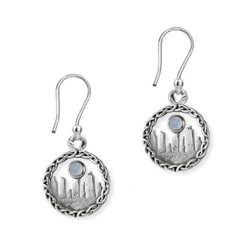 OUTLANDER INSPIRED STANDING STONES SILVER DROP EARRINGS