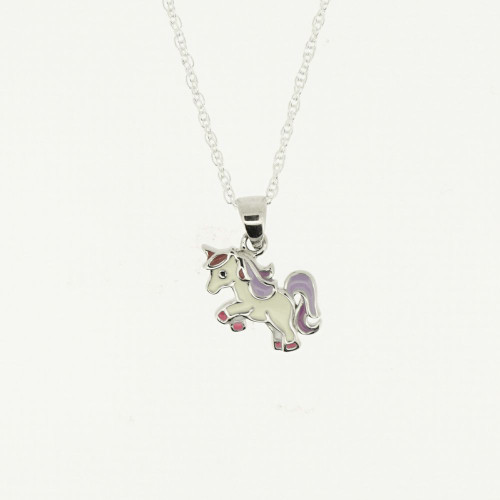 CHILDREN'S STERLING SILVER UNICORN PENDANT WITH ENAMEL
