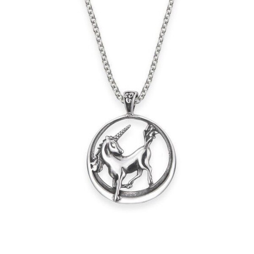 Unicorn sterling silver round pendant