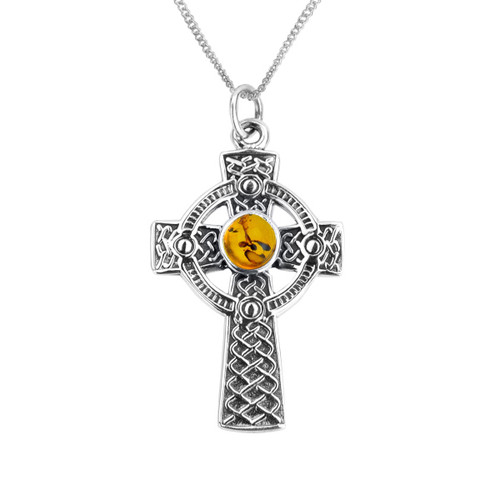 CELTIC IONA CROSS SILVER PENDANT WITH AMBER