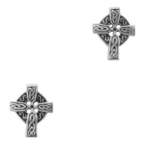 CELTIC CROSS SILVER STUD EARRINGS