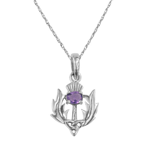 SCOTTISH THISTLE SILVER PENDANT WITH AMETHYST COLOUR STONE