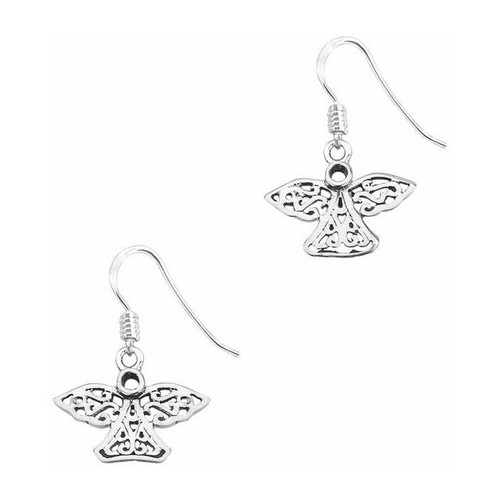 CELTIC ANGEL SILVER DROP EARRINGS