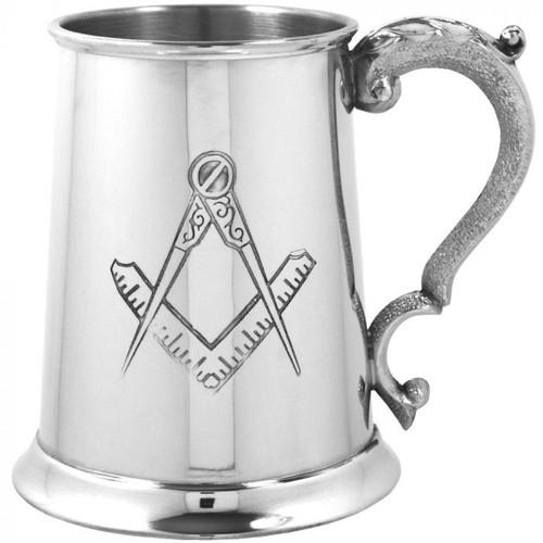 Masonic 1 Pint Pewter Tankard