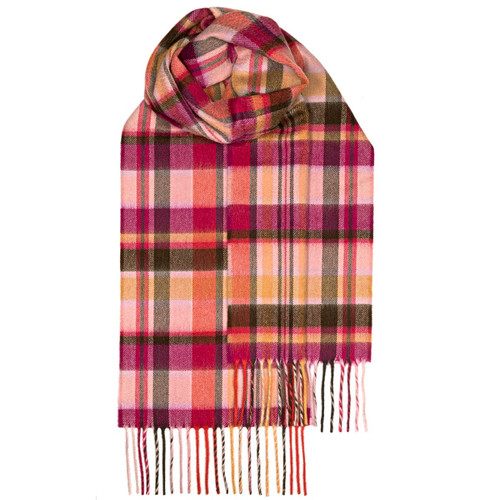 Pink Meadow Check Luxury Cashmere Scarf