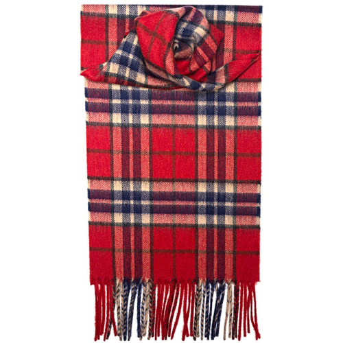 Thompson Red Antique Tartan Luxury Cashmere Scarf