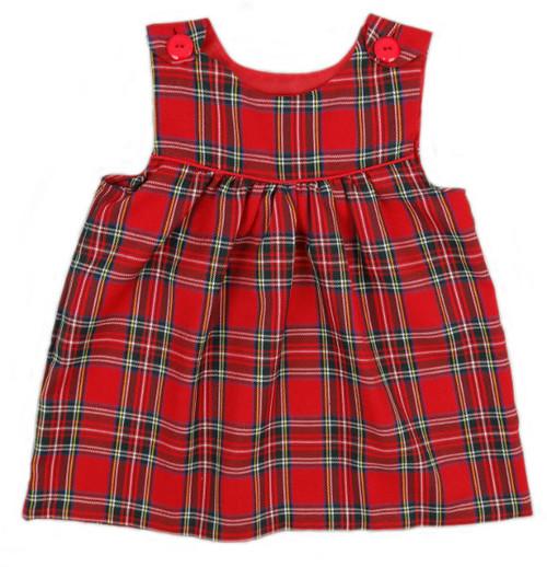 Tartan Dress with Button Shoulder