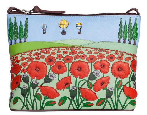 The Poppy Fields Leather Midi Cross Body Bag