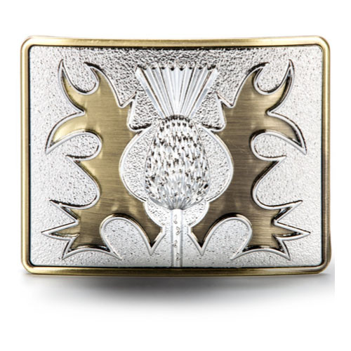 Ancient Brass Thistle Belt Buckle