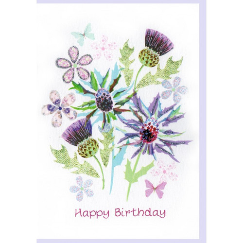 Birthday Pretty Thistles Card