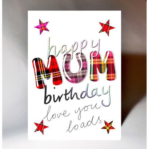 Tartan Words Card Mum