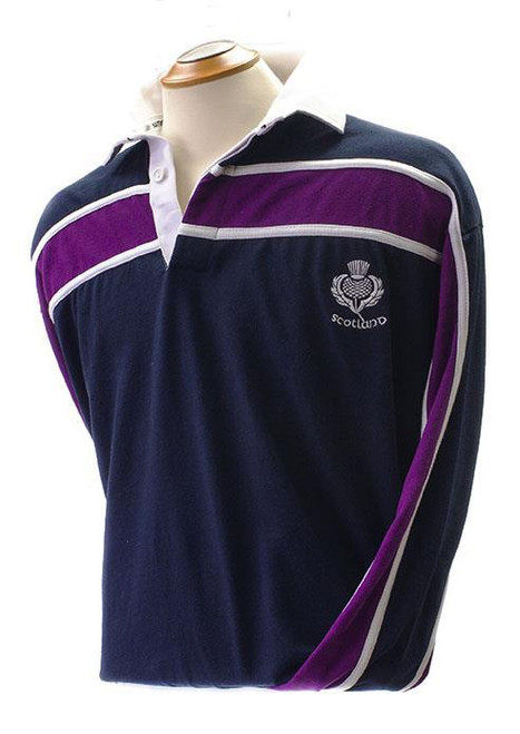 Shirts | Mens Rugby Shirt with purple stripe