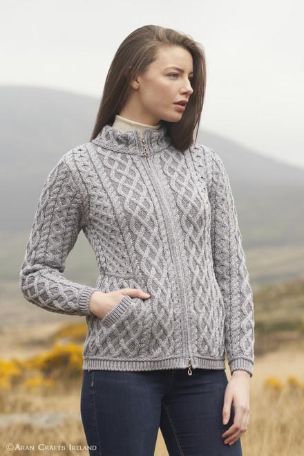 West End Knitwear Zip Cardigan - Soft Grey