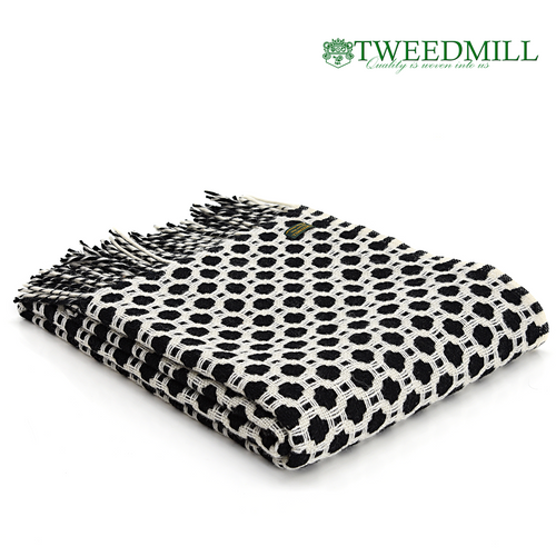 Tweedmill Textiles | Pure New Wool Throw Black and Soft White