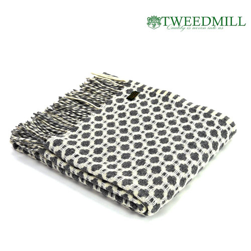 Tweedmill Textiles | Pure New Wool Throw Grey & Soft White