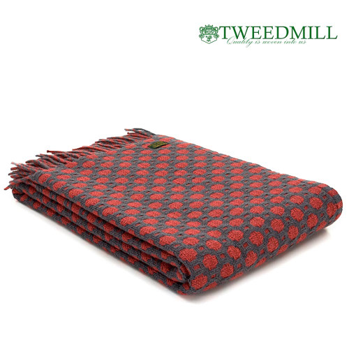 tweedmill Textiles | Pure New Wool Throw Cranbrerry and Solid Grey