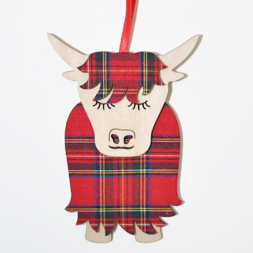 Royal Stewart Morag the Highland Cow Ornament