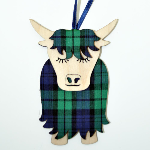 Black Watch Morag the Highland Cow Ornament