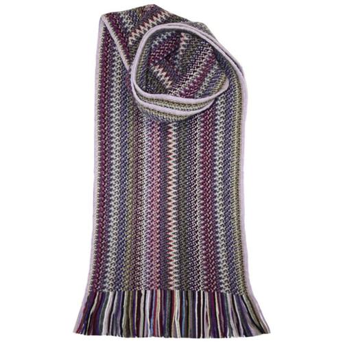 Lochcarron | Zig Zag Knitted Wool Scarf – Violet
