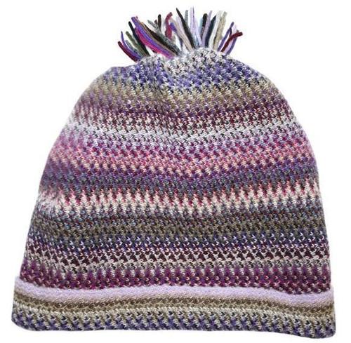 Lochcarron | Zig Zag Knitted Wool Hat – Violet