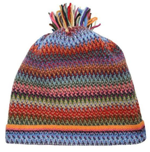 Lochcarron | Zig Zag Knitted Wool Hat – Rainbow