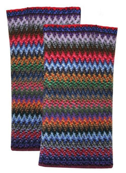 Lochcarron | Zig Zag Knitted Wool Fingerless Gloves – Tropic