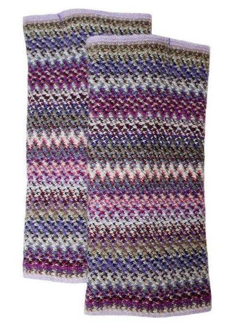 Lochcarron | Zig Zag Knitted Wool Fingerless Gloves – Violet