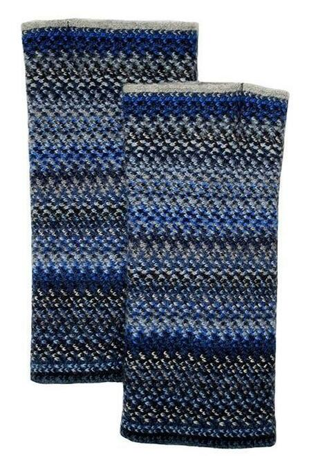 Lochcarron | Zig Zag Knitted Wool Fingerless Gloves – Midnight