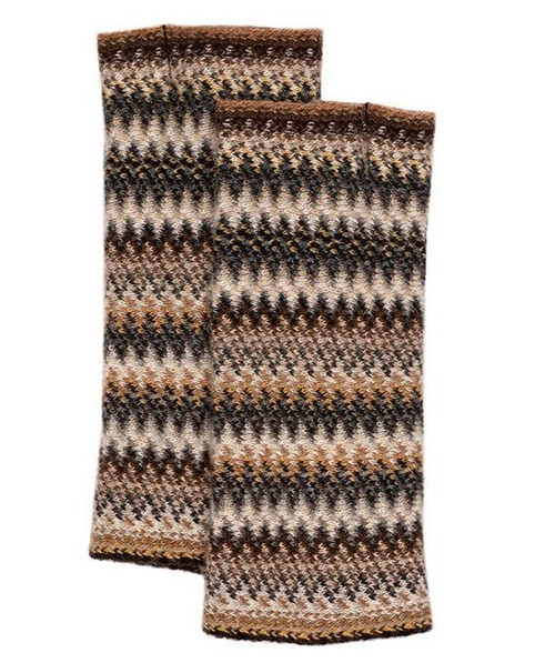 Lochcarron | Zig Zag Knitted Wool Fingerless Gloves – Havana
