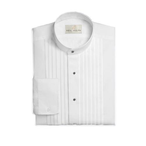 Collarless Pleated Shirt