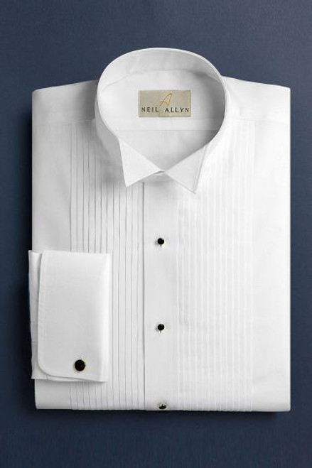 Wing Tip Pleated Shirt with French Cuffs Regular Fit
