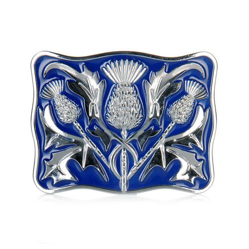 Belt Buckle | Blue & Chrome Thistle