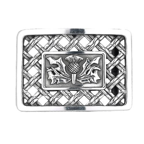 Belt Buckle Thistle Open Weave Design
