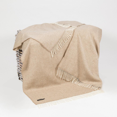 John Hanly Co. Merino Wool & Cashmere Throw cream