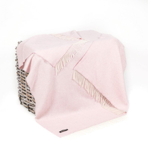John Hanly Co. Merino Wool & Cashmere Throw soft pink