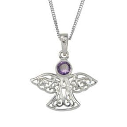 Silver Celtic Angel Birthstone Pendant