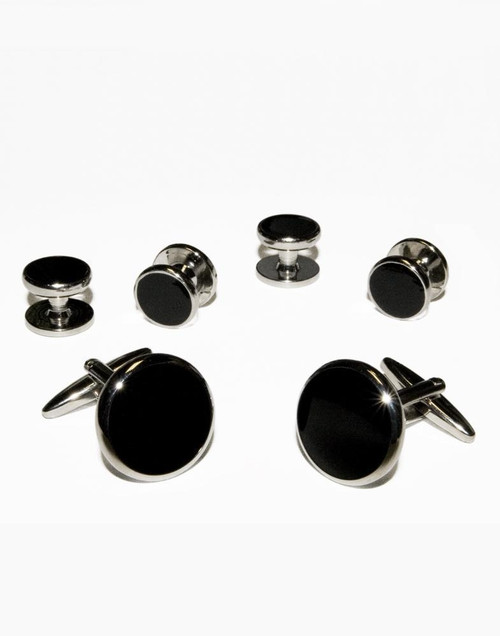 Deluxe Black with Silver Trim Studs and Cufflinks Set