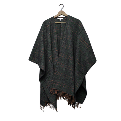 Tweed Lambswool Cape (Ruana) Forest