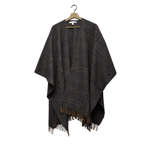 Tweed Lambswool Cape (Ruana)  Denim