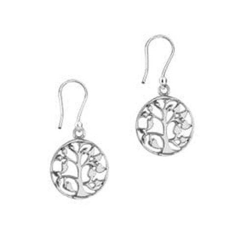 Celtic Tree of Life Silver Round Earrings