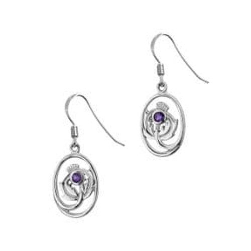Scottish Thistle Silver Oval Drop Earrings with Amethyst colour stone