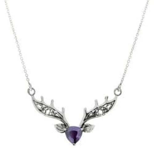 Scottish Highland Stag Silver Necklace with Amethyst colour stone