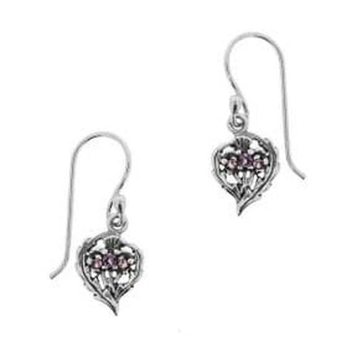 Scottish Thistle Silver Drop Earrings with Amethyst colour stones