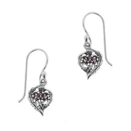Silver earrings with Scottish Thistles & amethyst-coloured stones