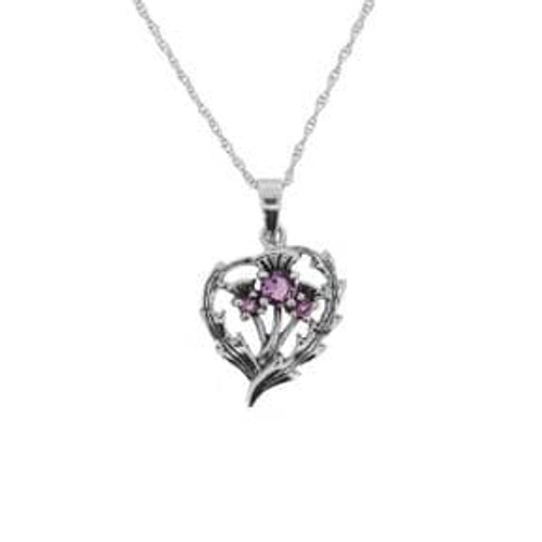 Scottish Thistle Silver Pendant with Amethyst colour stones