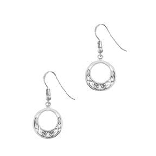 Celtic Silver Round Drop Earrings Donalda